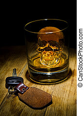 Don't Drink and Drive - A glass of whiskey with a skull ice...