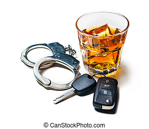 dont drink and drive - Whiskey with car keys and handcuffs ...