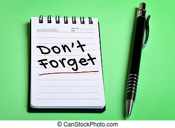 Dont forget word on notebook page