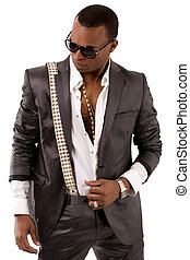 Image of black business man wearing belt over his on a isolated white background