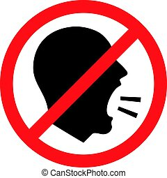 Vector Illustration Of A Keep Quiet and Shouting Is Not Allowed Sign.