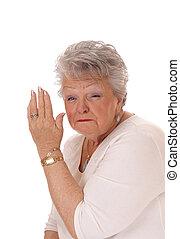 Don't talk to me, senior woman.