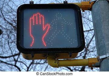 Dont Walk Sign 2 - Orange hand dont walk symbol