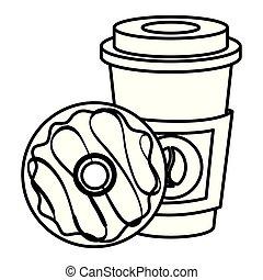 donut , καφέs , αγαλματώδης δοχείο , κύπελο