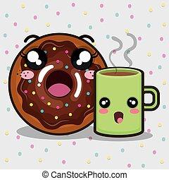 donut and coffee kawaii cartoon - sweet donut and coffee mug...