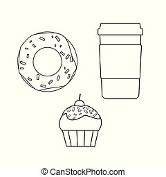 Donut and muffin with a glass of coffee on a white background