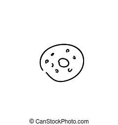 donut, bianco, spruzzatine, isolato, fondo