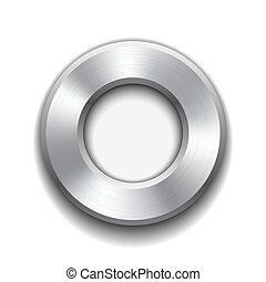 Donut button template with metal texture.