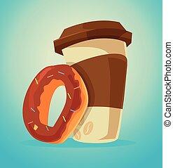 donut, café, caráteres, copo