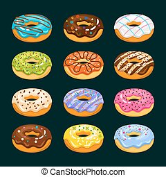 Donut cake cartoon icons. Chocolate assorted donuts vector...