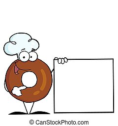 Donut Cartoon Character - Donut Character Wearing A Chef Hat...