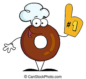 Donut Cartoon Character Number One - Donut Character Wearing...