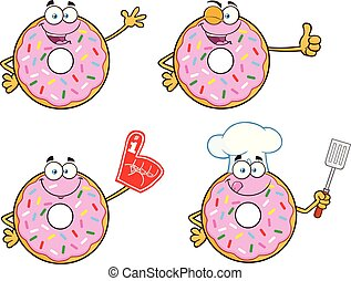 Donut Cartoon Mascot Character Set 1. Vector Collection