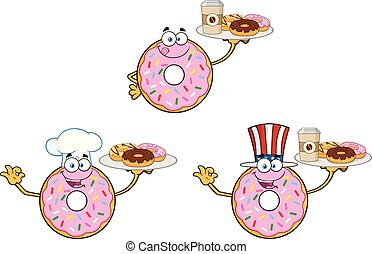 Donut Cartoon Mascot Character Set 3. Vector Collection