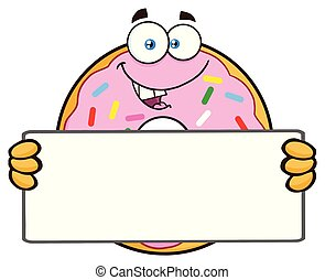 Donut Cartoon Mascot Character With Sprinkles Holding a Blank Sign