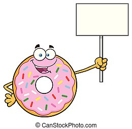 Donut Cartoon Mascot Character With Sprinkles Holding Up A Blank Sign