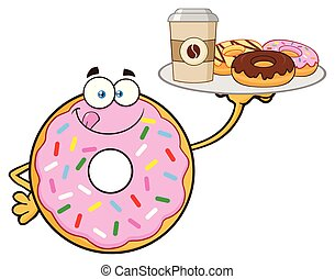 Donut Cartoon Mascot Character With Sprinkles Serving Coffee And Donuts