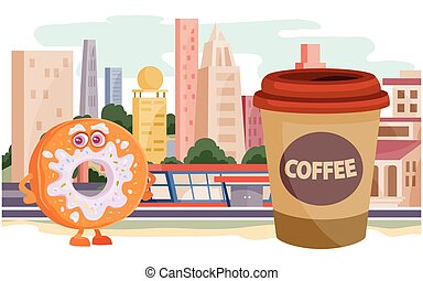 donut character and a glass of coffee on the background of large houses, street food, fast food, vector illustration