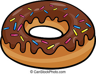 Cartoon Illustration of Sweet Donut Cake with Chocolate Clip Art