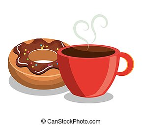 donut coffee sweet dessert isolated