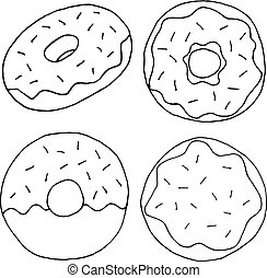 donut doodles set hand drawn vector illustration