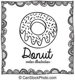 donut drawing over white background vector illustration