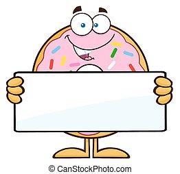 donut, em branco, segurando, sinal