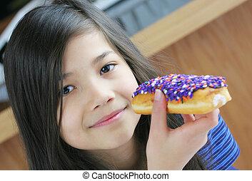 donut, essende, kind