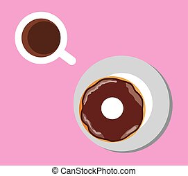 Donut - flat coffee and donut illustration