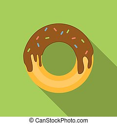 Donut flat icon, colored image with long shadow on green...