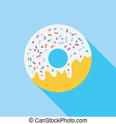 Donut flat icon - Donut icon. Flat vector related icon with...