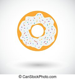 Donut flat icon - Donut. Single flat icon on white...