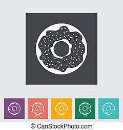 Donut flat icon - Donut. Single flat icon. Vector...