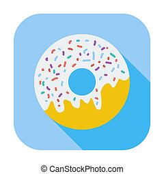 Donut flat icon - Donut. Single flat color icon. Vector...