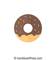 Donut flat icon, food drink elements, sweets sign, a...