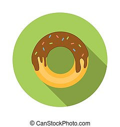 Donut flat icon isolated on white background
