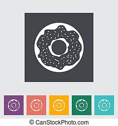 Donut flat icon - Donut. Single flat icon. Vector...