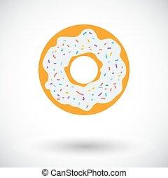 Donut flat icon - Donut. Single flat icon on white...
