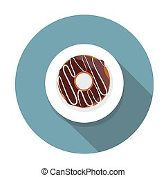 Donut Flat Icon with Long Shadow, Vector Illustration Eps10...