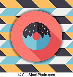 Donut flat icon with long shadow,eps10