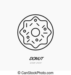Donut flat logo, line icon. Sweet food vector illustration....