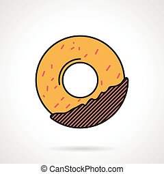 Donut flat vector icon - Flat color design vector icon for...
