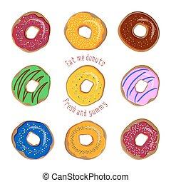Donut flat vector set isolated on white background
