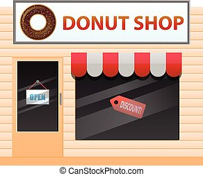Donut food shop vector icon - Vector illustration of a small...