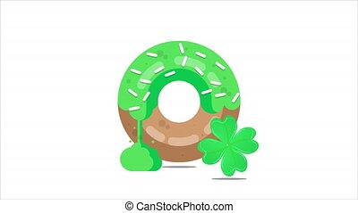 Donut for st patricks day, art video illustration.