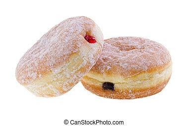 donut., gelei, gevulde, doughnuts, op achtergrond