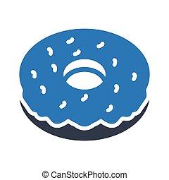 donut glyph color vector icon