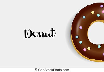Donut. Hand drawn bakery design pop art