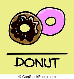 donut hand-drawn style,Vector illustration.