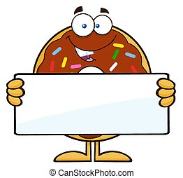Donut Holding a Blank Sign